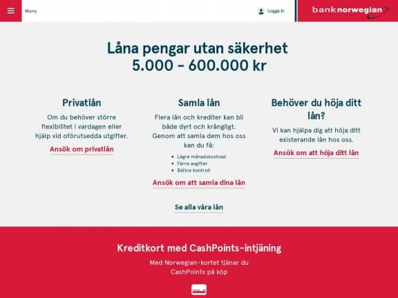 Bank Norwegian screenshot