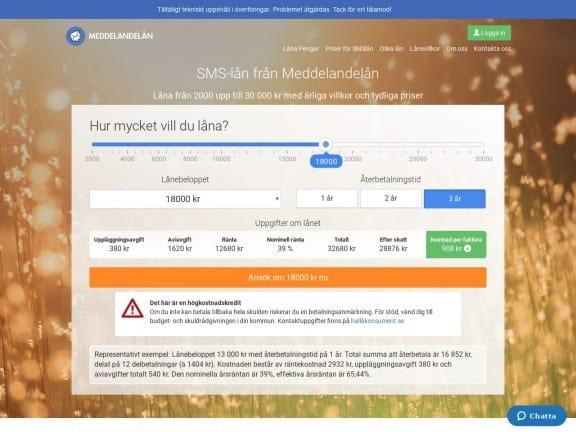 Meddelandelån screenshot