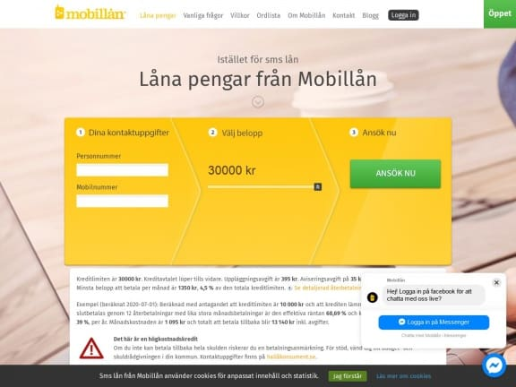 Mobillån screenshot