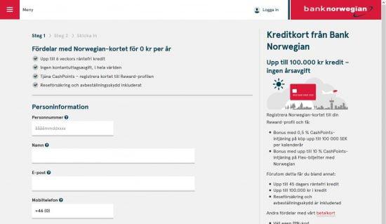 Bank norwegian kreditkort ansökan