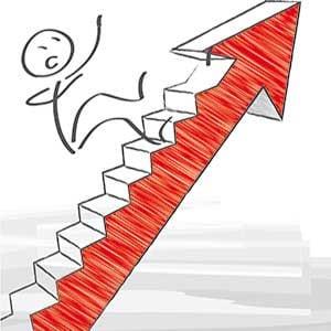 Trillar nedför trappa