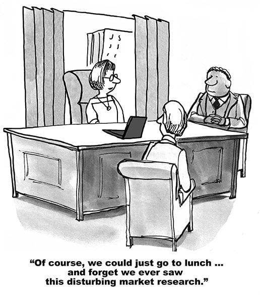 Meeting humor: Naturligtvis kunde vi lika gärna gå på lunch och låtsas som att vi inte såg den här störiga marknadsstudien.