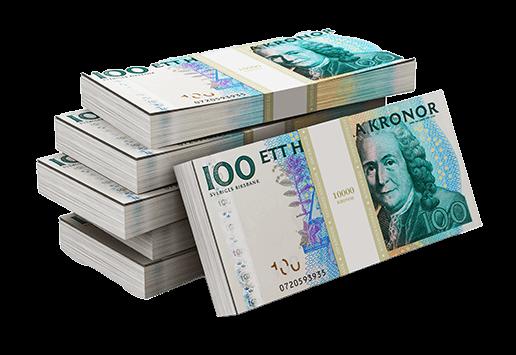 Pengar - buntar med hundralappar
